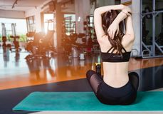 Back young woman lifestyle sitting yoga Stock Image