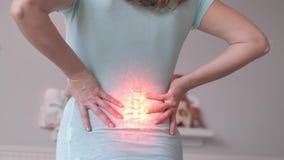 Backache, Having Back Pain, Incognizable Female Pressing Hands Against Lower Back, Health Problems, Rheumatism
