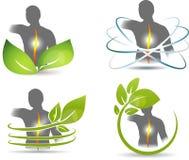 Backache healing. Human backache healing symbol set. Isolated on white stock illustration