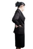 Backache lub Bolesna talia w kobiecie odizolowywającej na białym tle Ścinek ścieżka na białym tle zdjęcia stock