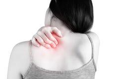 Backache lub Bolesny ramię w kobiecie odizolowywającej na białym tle Ścinek ścieżka na białym tle fotografia stock
