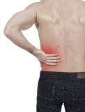 Backache. Man with backache, white background Royalty Free Stock Photo