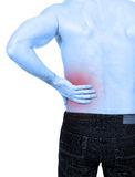 Backache. Man with backache, white background Stock Photo