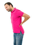 Backache pain. Caucasian man portrait backache pain portrait on studio isolated white background Royalty Free Stock Image