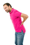 Backache pain. Caucasian man portrait backache pain portrait on studio  white background Royalty Free Stock Image