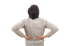 Backache pain. Caucasian man portrait backache pain on studio isolated white background Royalty Free Stock Photo