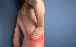 Backache. People Backache concept isolated photo Royalty Free Stock Photos