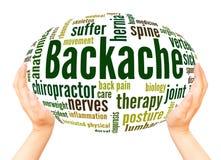 Backache słowa chmury ręki sfery pojęcie zdjęcie stock