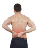 Backache. Sportsman with backache, white background Royalty Free Stock Photo