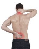 Backache. Sportsman with backache, white background Royalty Free Stock Image