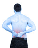 Backache. Sportsman with backache, white background Royalty Free Stock Photography