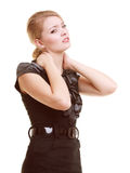 Backache. Young woman suffering from back pain isolated Stock Photo