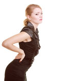 Backache. Young woman suffering from back pain isolated Stock Photos