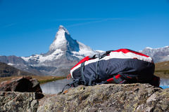 Backback and Matterhorn Stock Photography