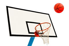 Backboard and ball on white. Background Royalty Free Stock Photography