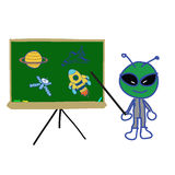 Backboard  with space object and alien instructor Stock Photo