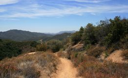 Backbone Trail Panorama. View of mountains and sky from the Backbone Trail, Malibu, CA Royalty Free Stock Image