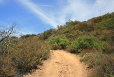 Backbone Trail Panorama. View of mountains and sky from the Backbone Trail, Malibu, CA Royalty Free Stock Photo