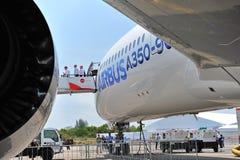 Backbord von Flugzeug Airbusses A350-900 XWB MSN 003 in Singapur Airshow Lizenzfreie Stockfotos