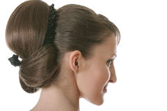 Backcombed girl sideview Stock Images