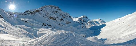 Backcountry滑雪在瓦尔d'Isère 库存图片