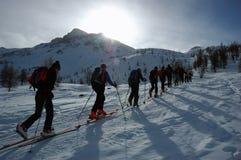 backcountry滑雪游览 图库摄影