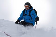 backcountry男性滑雪者 库存图片