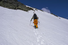 Backcountry滑雪的Tuckerman的山沟登上华盛顿,新的Hamp 免版税库存照片