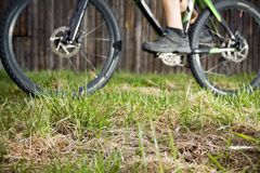 Backcountry bike rider, focus on grass Stock Photo