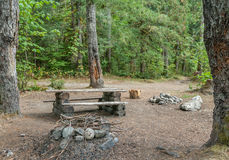 Backcountry Campsite. A makeshift campsite in the forest near Squamish, British Columbia, Canada royalty free stock image