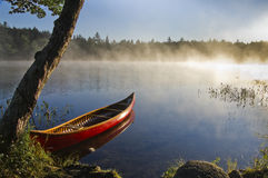 Backcountry canoe. Cedar strip canoe in the backwoods of Nova Scotia Stock Images