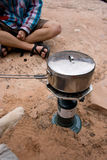 Backcountry cooking. Cooking some grub in the desert while camping Stock Image