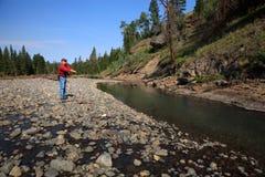 Backcountry-Fischen in Yellowstone Nationalpark Lizenzfreies Stockbild