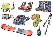Backcountry freeride stuff for the snowboarders Stock Photo