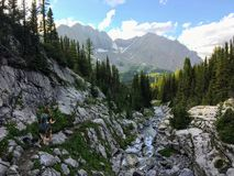 Backcountry hiking the spectacular Northover Ridge trail in Kana. Naskis, Alberta, Canada. Pure solitude in the forests and mountains of the Canadian Rockies stock photo