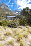Backcountry hut in Nelson Lakes National Park, New Zealand. Backcountry hut on a Travers-Sabine Circuit - a popular tramping route in Nelson Lakes National Park stock images