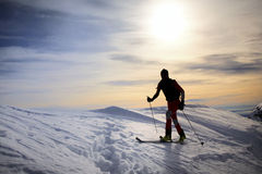 Backcountry skier. Male backcountry skier; backlite; italian alps Royalty Free Stock Images