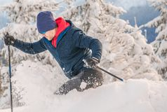 Backcountry Skier Ride. In Heavy Snow. Off Piste Ski. Winter Sports Concept royalty free stock photos