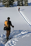 Backcountry skiers. Backcountry hiking and skiing is fun stock images