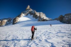 Backcountry skiers at Mont Blanc, France. Stock Images