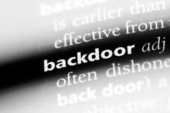 Backdoor. Word in a dictionary.  concept Stock Images