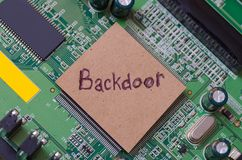 Backdoor. Word written on a paper and placed on a PC chip royalty free stock images