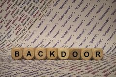 Backdoor - cube with letters and words from the computer, software, internet categories, wooden cubes Royalty Free Stock Photo