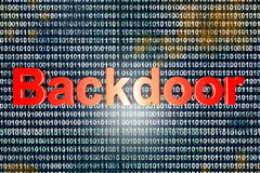 Backdoor. A digital backdoor, a vulnerable port for a hakers attack. 3D rendered Illustration stock image