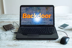 Backdoor. A software backdoor on a laptop computer royalty free stock images