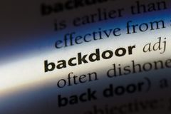 Backdoor. Word in a dictionary.  concept Stock Photos