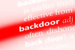 Backdoor. Word in a dictionary.  concept royalty free stock image