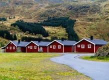 Backdr vívido horizontal do fundo da natureza das cabines do acampamento de Noruega imagem de stock royalty free