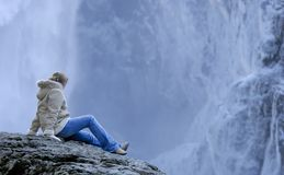 Backdrop. Winter wounder land falls in the winter Royalty Free Stock Images