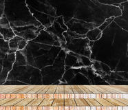 Backdrop abstract marble wall and wood slabs arranged in perspective texture background.. Stock Images